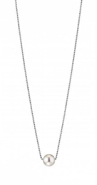 Perlenkette Süßwasser weiss rund 10-11 mm Kugelkette Silber rhodiniert 50 cm
