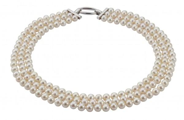 Perlenkette Süßwasser rund 3-reihig Silber 45 cm