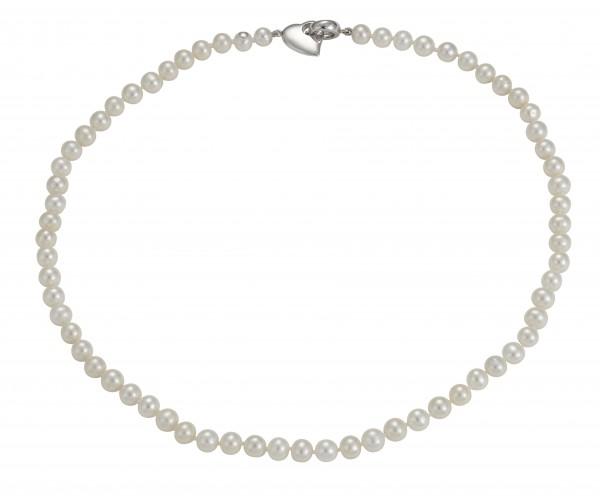 Perlenkette Süßwasser 6-7 mm Herz Silber 45 cm