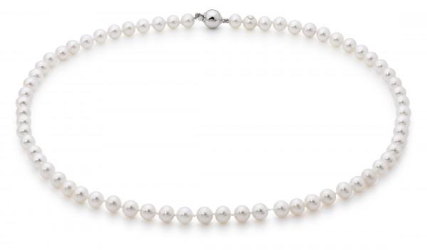 Perlenkette Süßwasser weiß rund 6-7 mm Weißgold 14 Karat 45 cm