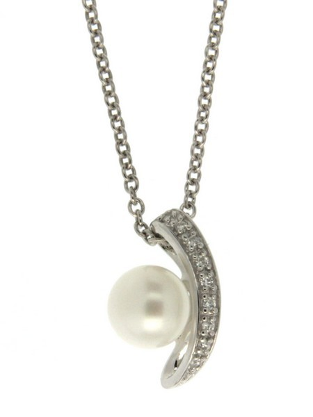 Perlenkette mit Anhänger Süßwasser button 8-9 mm Zirkonia Ankerkette Silber 50 cm