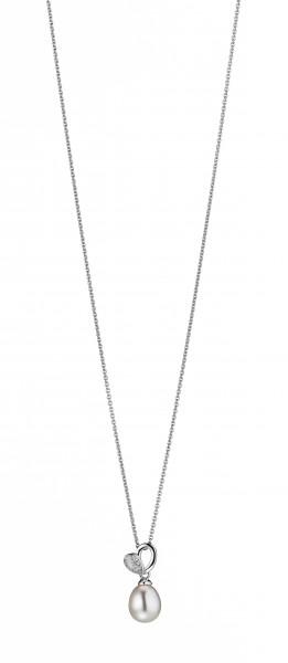 Perlenkette Herzform Süßwasser weiss Tropfen Zirkonia Silber Ankerkette 50 cm