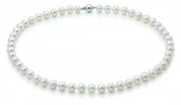 Perlenkette Süßwasser weiß rund 8-9 mm Weißgold 14 Karat 45 cm