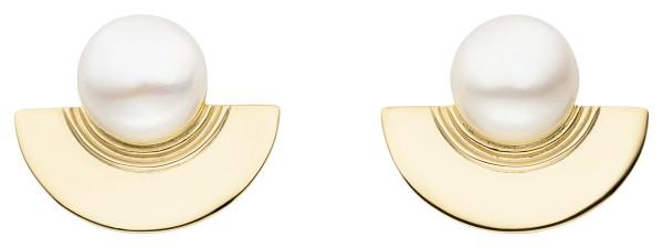 Perlenohrstecker Silber vergoldet Süßwasser 11-12 mm