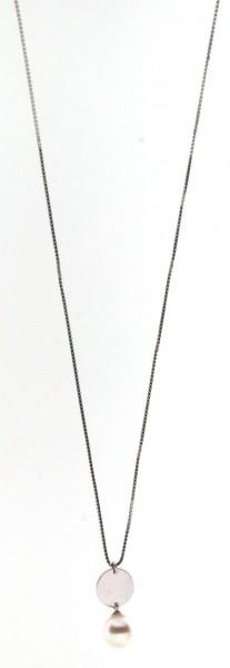Perlenkette Süßwasser weiss rund 9-10 mm Ankerkette Silber rhodiniert 50 cm