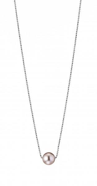 Perlenkette Süßwasser natur rund 10-11 mm Kugelkette Silber rhodiniert 50 cm