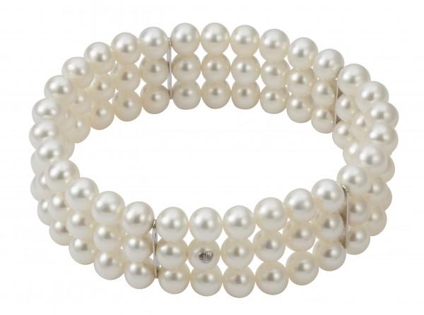 Perlenarmband Süßwasser rund weiß 3-reihig mit Stegen elastisch Silber 19 cm