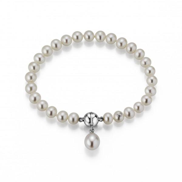 Perlenarmband Süßwasser rund und Tropfen mit Einhänger Silber19 cm