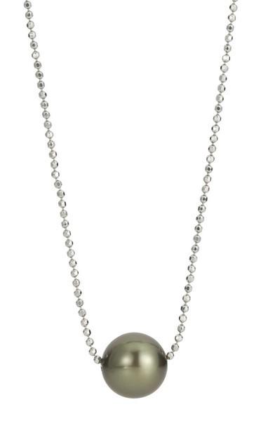 Perlenkette Tahiti schwarz rund 8-10 mm facettierte Kugelkette Silber 50 cm
