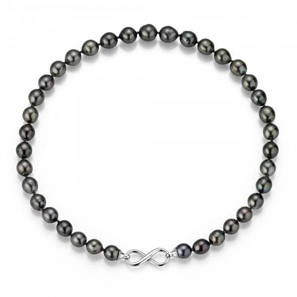 Perlenkette Tahiti schwarz rund 8-10 mm Infinity-Schließe Silber