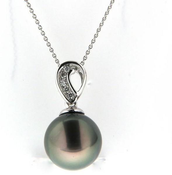 Perlenkette Tahiti 9-10 mm Brillanten Weißgold 14 Karat Ankerkette 45 cm