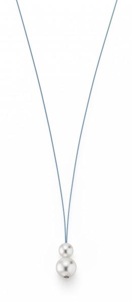 Perlenkette Süßwasser weiss 7-8 und 10-11 mm Edelstahl-Seil türkis ca. 75 cm