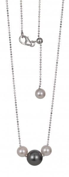 Perlenkette Akoya und Tahiti Weißgold 14 Karat 45 cm