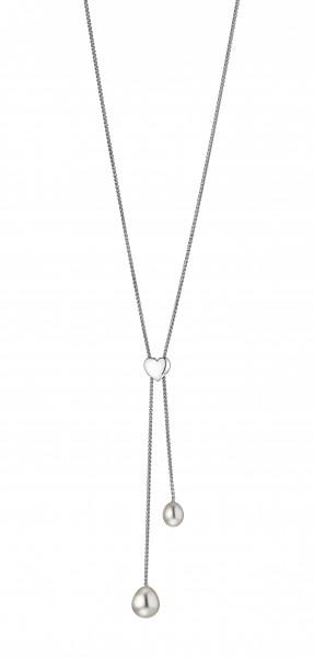 Perlenkette Y-Collier Süßwasser weiss Tropfen verstellbar mit Herz Silber 80 cm