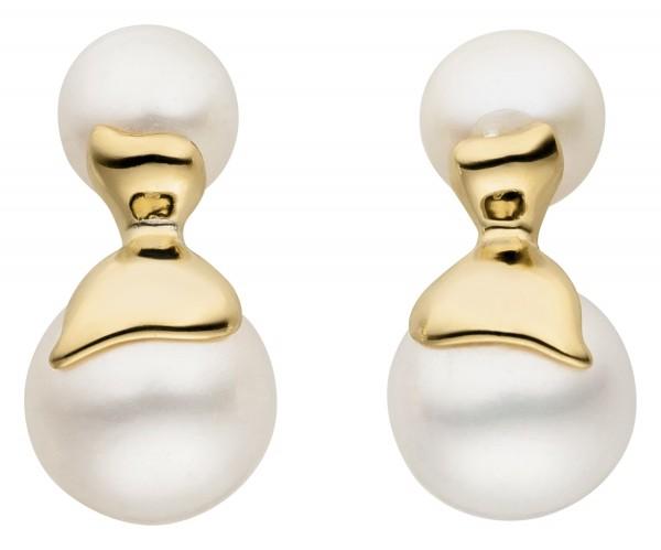 Perlenohrstecker Silber vergoldet Süßwasser 6-9 mm