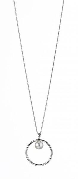 Perlenkette Süßwasser weiss rund 7-8 mm Ankerkette Silber rhodiniert 50 cm