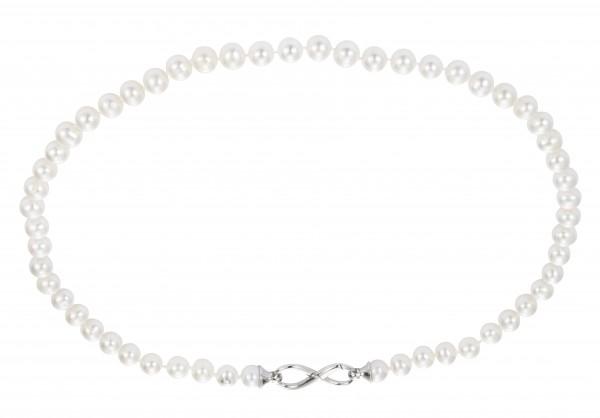 Perlenkette Süßwasser 45 cm Infinity-Verschluß Silber