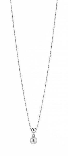 Perlenkette Süßwasser weiss runf 7-8 mm Kugelkette Karabiner Silber rhodiniert 50 cm