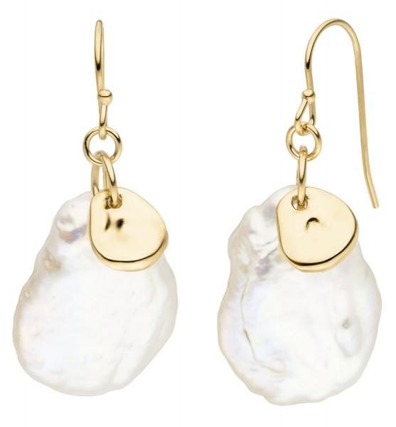 Perlenohrringe Haken Silber vergoldet Süßwasser 16-17 mm