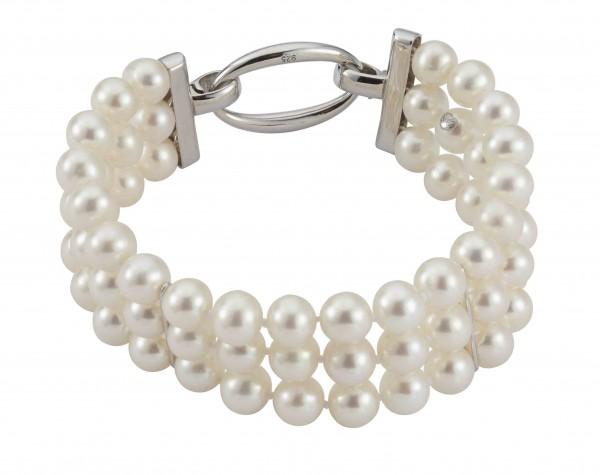 Perlenarmband Süßwasser rund weiss 7-7,5 mm 3-reihig Silber rhodiniert 18-20 cm