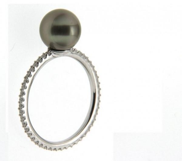 Perlenring Damenring Tahiti schwarz rund 8-9 mm rundum Zirkonia Silber