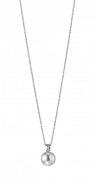Perlenkette mit Anhänger Süßwasser weiss rund 12-13 mm Silber rhodiniert 90 cm