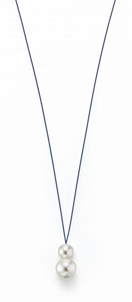 Perlenkette Süßwasser weiss 7-8 und 10-11 mm Edelstahl-Seil blau ca. 75 cm