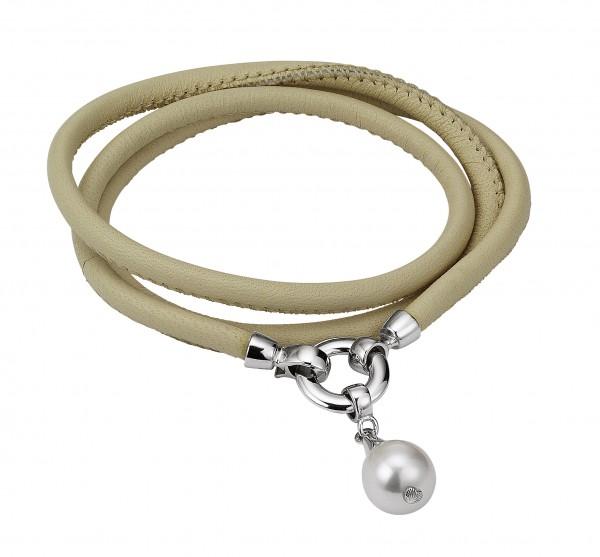 Perlen-Lederarmband puder Süßwasser rund Silber ca. 55cm 3-reihig