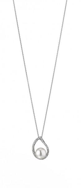 Perlenkette Süßwasser weiss button 8,5-9 mm und Zirkonia Ankerkette Silber 50 cm