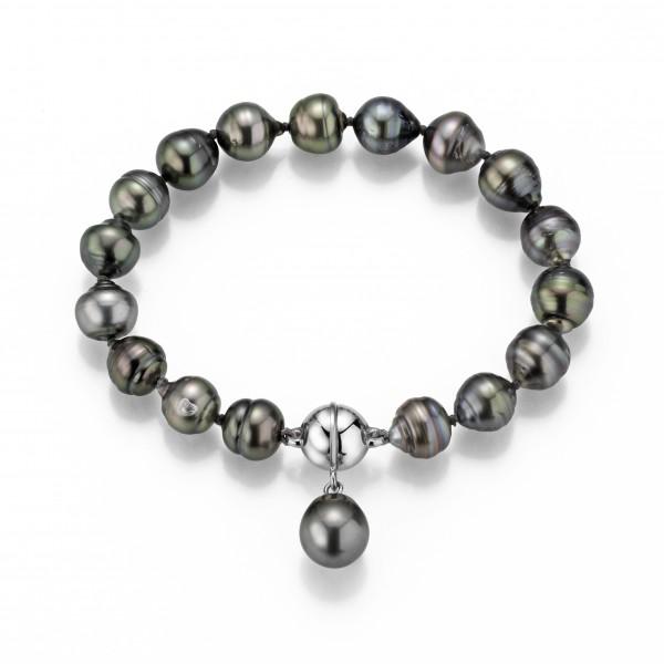 Perlenarmband Tahiti 9-10 mm Einhänger Tropfen Magnetschließe Silber 19 cm