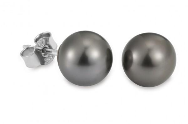 Perlenohrstecker Tahiti rund schwarz 8-9 mm Silber