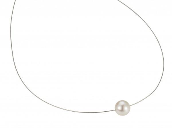 Perlenhalsreif Süßwasser weiss 10-11 mm Omegareif Silber rhodiniert 45 cm