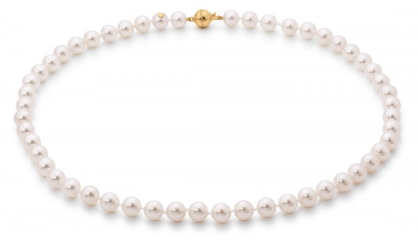 Perlenkette Akoya 7,5-8 mm Kugelschließe Gelbgold 45 cm
