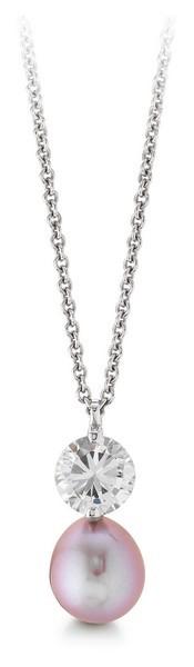 Perlenkette mit Anhänger Süßwasser Tropfen Zirkonia Ankerkette Silber 50 cm
