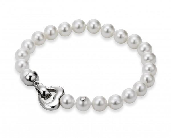 Perlenarmband Süßwasser 19 cm Herz in Silber