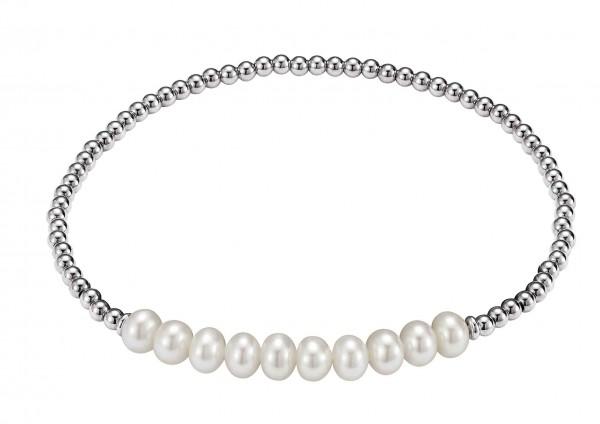 Perlenarmband Süßwasser rund und Kugeln Silber