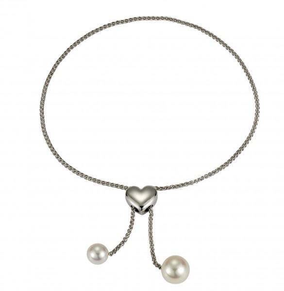 Perlenarmband Süßwasser weiss Tropfen verstellbar mit Herz Silber rhodiniert 24 cm