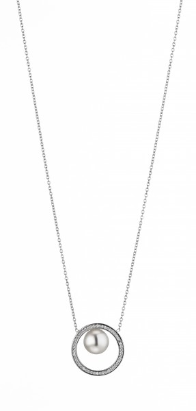 Perlenkette Süßwasser weiss button 9-10 mm Zirkonia Ankerkette Silber 45 cm