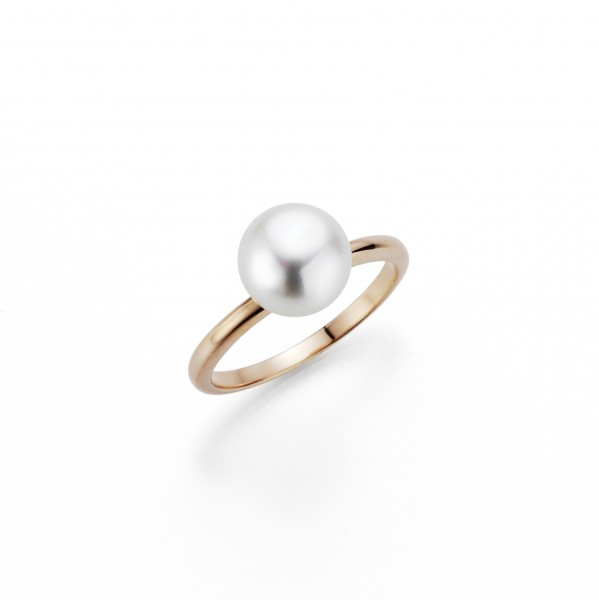 Perlenring Damenring Süßwasser weiss button 9-10 mm Silber rosè vergoldet
