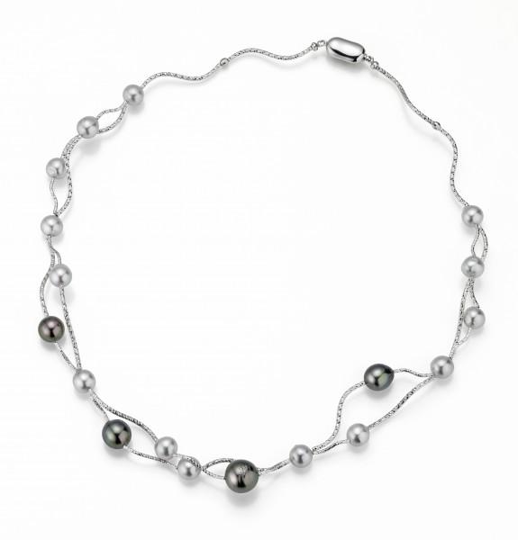 Perlenkette Tahiti 8-12 mm semiround Silber diamantiert