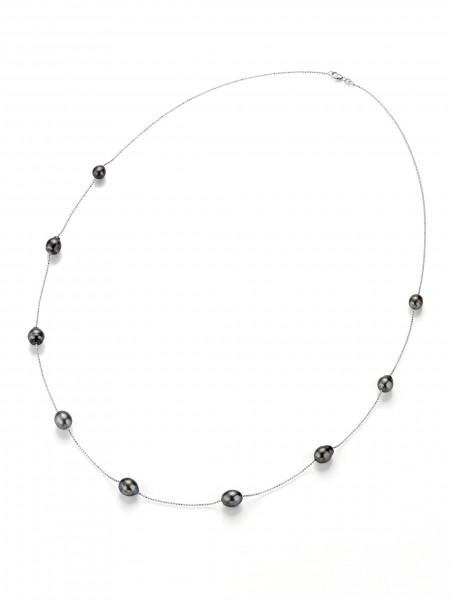 Perlenkette Tahiti multi barock 8-10 mm facettierte Kugelkette Silber 90 cm