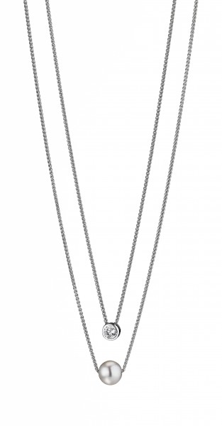 Perlenkette 2-reihig Süßwasser weiss rund 9-10 mm Zirkonia Silber rhodiniert 45 cm