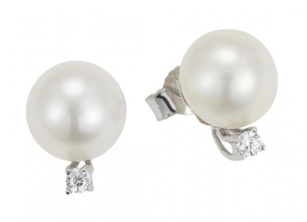 Perlenohrstecker Süßwasser weiss button 8,5-9 mm Zirkonia Silber rhodiniert