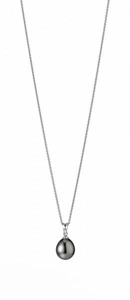 Perlenkette Tahiti schwarz Tropfen 10-11 mm Ankerkette Silber 45 cm