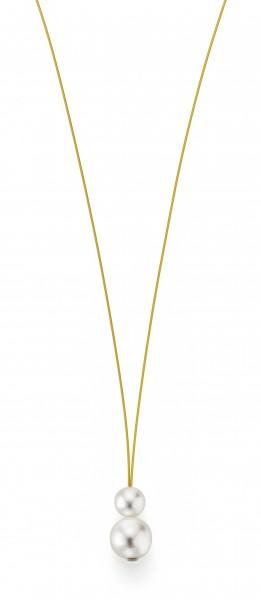 Perlenkette Süßwasser weiss 7-8 und 10-11 mm Edelstahl-Seil gold ca. 75 cm