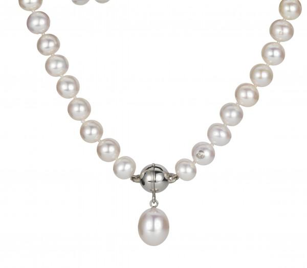 Perlenkette Süßwasser mit Süßwasser-Einhänger Tropfen Magnetschließe Silber 45 cm