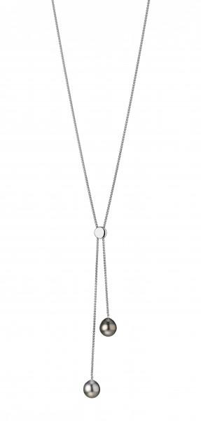 Perlenkette Tahiti schwarz 9-10 mm silbergrau 9-10 mm Silber Y-Kette