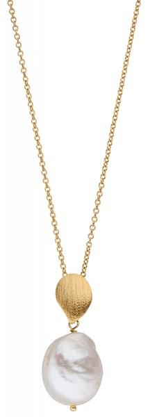 Perlenkette mit Anhänger Süßwasser 13-16 mm vergoldet