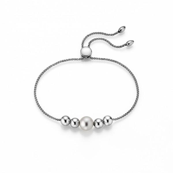 Perlenarmband Süßwasser weiss rund 7-8 mm und Kugeln verstellbar Silber 24 cm