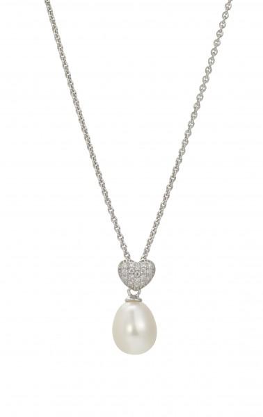 Perlenkette Süßwasser Tropfen Zirkonia Ankerkette Silber 50 cm